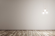 Interior Background With Lights Bulbs 3d Rendering