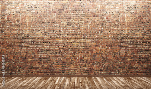 Photo  Interior background of room with brick wall and wooden floor 3d render
