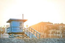 Sun Rising Behind A Lifeguard Booth In Santa Monica, Los Angeles, California