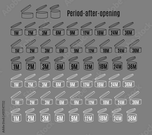 Big set of period after open PAO labels. Expity date icons Canvas Print