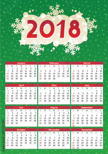 2018 full year calendar for a4 letter or a3 paper size of red and