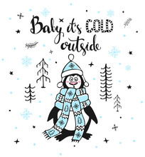Winter Greeting Card With Cute...
