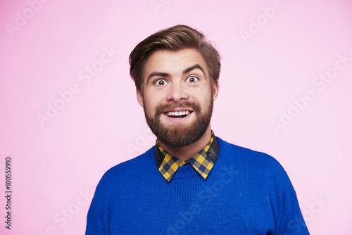 Fotografie, Obraz  Portrait of surprised and funny man
