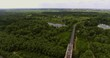 Aerial view of the desna river. Aerial view of the motor bridge across the river