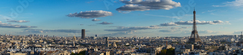 Deurstickers Eiffeltoren panorama of famous Eiffel Tower and Paris roofs, Paris France
