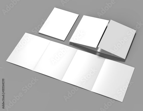 Double gate fold brochure blank white template for mock up and presentation design Canvas-taulu