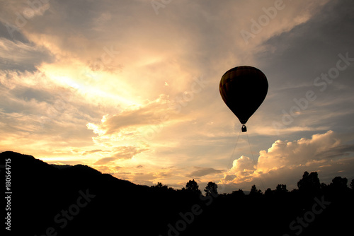 Recess Fitting Balloon balloon flying on sky in evening time Silhouette style