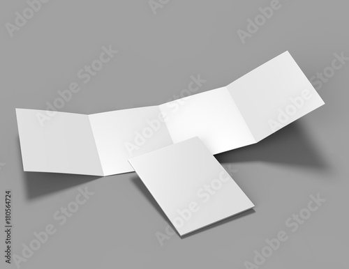 Double Gate Fold Brochure Blank White Template For Mock Up And
