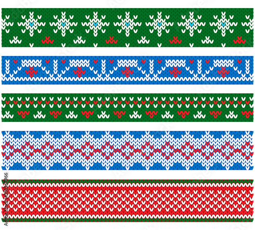 New Year And Christmas Party Flat Style Vector Knitting Borders