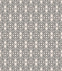Fototapeta Art deco geometric seamless pattern black line color on white background for greeting card, textile, wedding invitation, decoration, poster. Arabic background. Vector Illustration