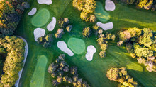Drone View Of A Golf Field Wit...