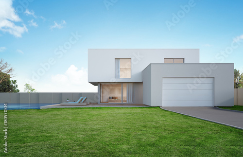 Stampa su Tela Luxury house with swimming pool and terrace near lawn in modern design, Empty fr
