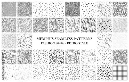 Bundle of Memphis seamless patterns. Fashion 80-90s. Black and white textures