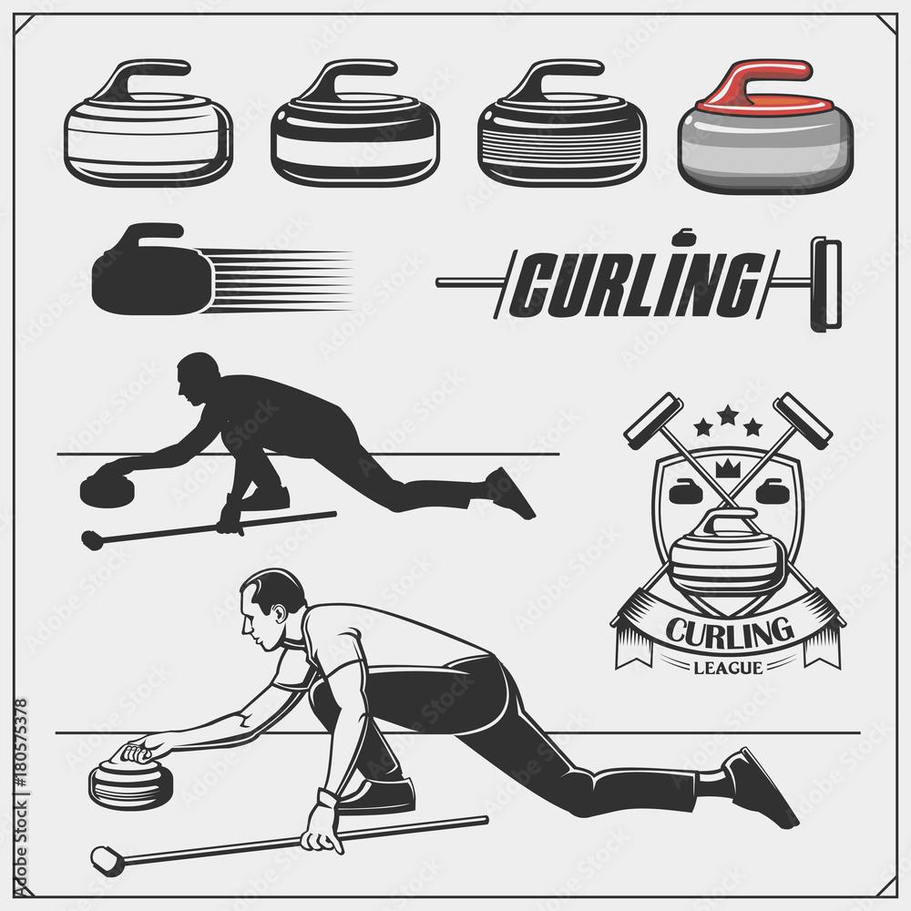 Fototapeta Set of curling labels, emblems and design elements.