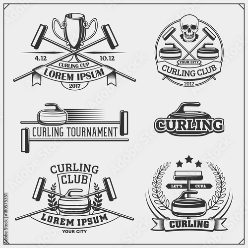 Foto Set of curling labels, emblems and design elements.