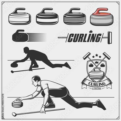 Valokuva Set of curling labels, emblems and design elements.
