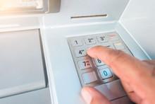 Closeup ATM Machine And Finger...