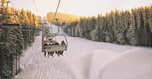 People Are Lifting On Ski-lift...