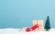 Little handmade gift box with miniature Christmas tree