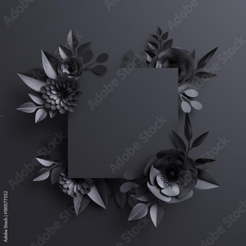 3d render black paper flowers botanical background blank square 3d render black paper flowers botanical background blank square banner floral card mightylinksfo Gallery