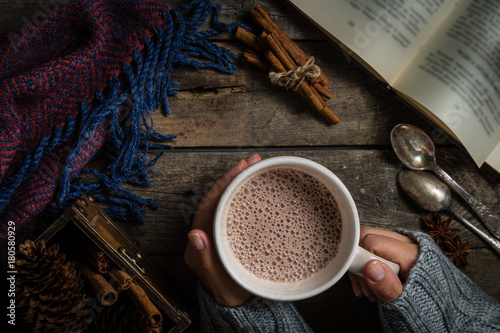 Canvas Prints Chocolate Winter hot chocolate on rustic background