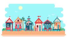 Beach Bungalow Hotel. Vector Summer Illustration