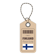 Hang Tag Made In Finland With Flag Icon Isolated On A White Background. Vector Illustration. Made In Badge. Business Concept. Buy Products Made In Finland. Use For Brochures, Printed Materials, Logos