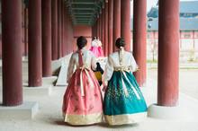 Korean Girls Dressed Hanbok In...