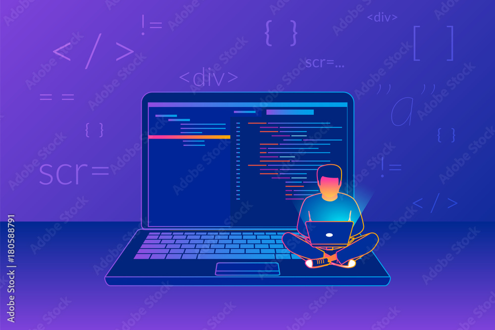 Fototapeta Man sitting on the big laptop and working. Gradient line vector illustration of young programmer coding a new project using computer on violet background with code symbols and signs