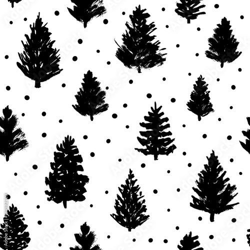 Christmas Tree Pattern.Seamless Pattern With Christmas Trees Sketches Buy This