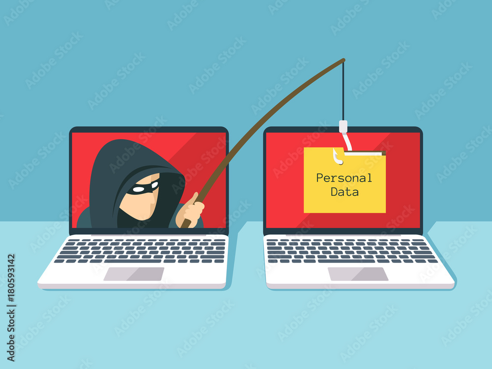 Fototapeta Phishing scam, hacker attack and web security vector concept