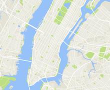 New York And Manhattan Urban City Vector Map