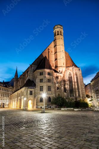 Obraz na dibondzie (fotoboard) Kościół Minoritenkirche w Wiedniu, Austria w nocy