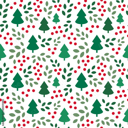 Fotografia  Endless Christmas Pattern with Christmas Trees