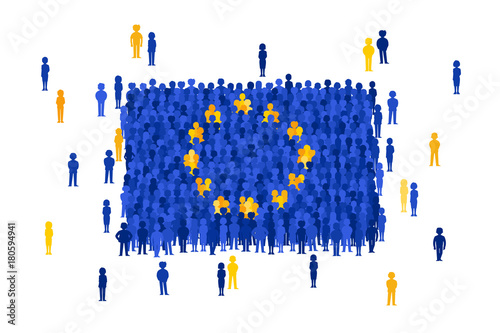 Stampa su Tela Vector European Union state flag formed by crowd of cartoon people