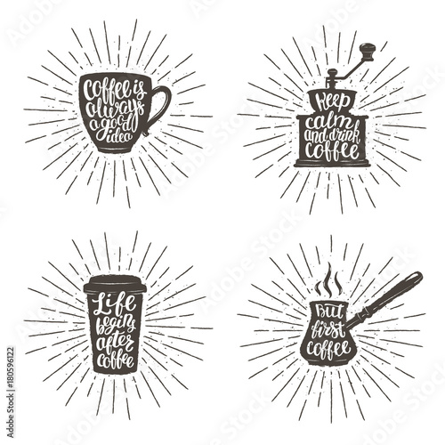 Coffee Lettering In Cup Grinder Pot Shapes On Sunburst Background