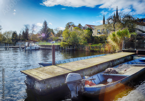 Werder Havel Steg Mit Fischerboot An Der Havel Buy This Stock