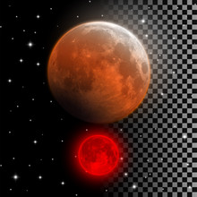 Realistic Blood Moon Vector Illustration. Red And Orange Full Moon In Lunar Eclipse Phase Isolated On Night Sky And Transparent Background. Vampire Moon Halloween Decoration Element.