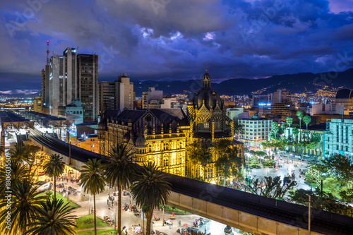 Recess Fitting South America Country Plaza Botero square and Downtown Medellin at dusk in Medellin, Colombia.