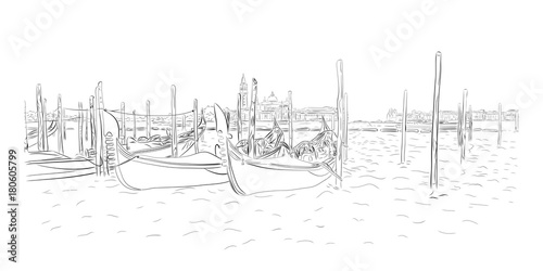 Gondolas near Saint Mark square with San Giorgio di Maggiore church in Venice, Italy. Vector drawing
