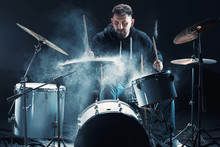 Drummer Rehearsing On Drums Be...