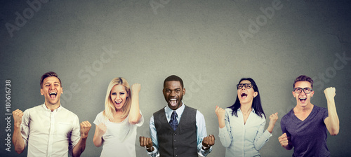 Photo  Successful people men and women are celebrating a victory