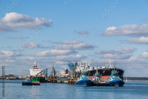 Photo  Oil tankers moored at the biggest refinery in Europe