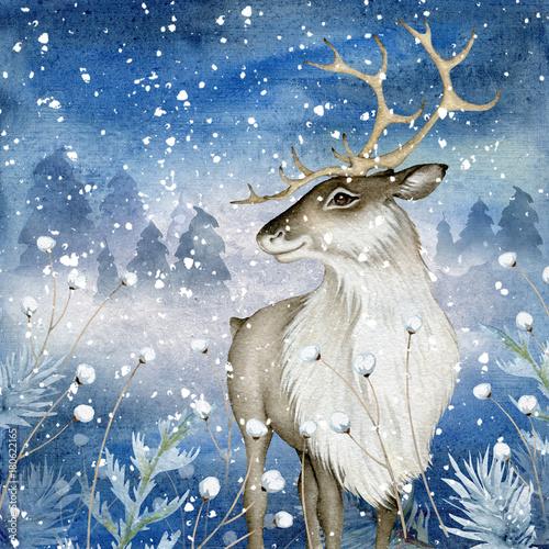Akwarela reniferów na tle magii zimowych
