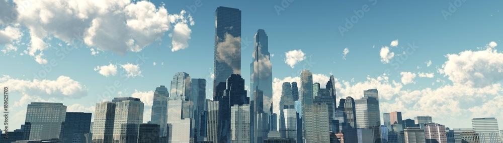 Fototapeta skyscrapers against the clouds, modern buildings view from below, banner