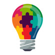 colorful bulb icon with puzzle concept