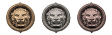 Old Metal Lion's Head On Whi...