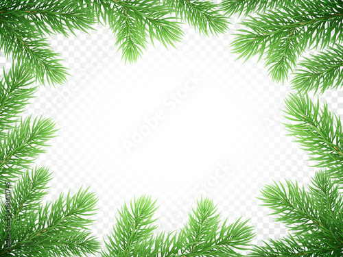 christmas holiday greeting card background template of new year fir or green pine tree branch wreath