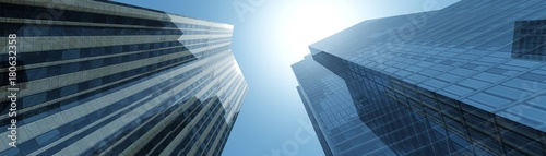 Photo skyscrapers against the clouds, modern buildings view from below, banner