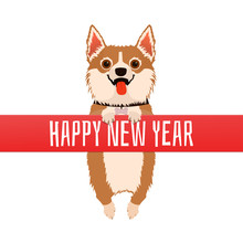 Happy New Year. Dog With Red R...